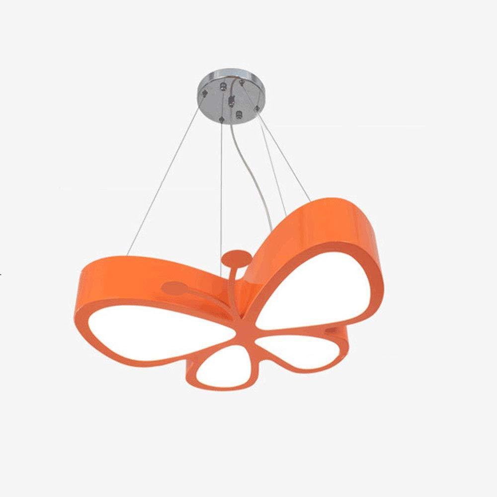 Unbekannt Moderne einfache LED Schmetterlings-Hängeleuchten, Acryl-Lampenschirm, Creative Personality Kinderzimmer Kindergarten Spielfeld Beleuchtung Chandelier,Orange