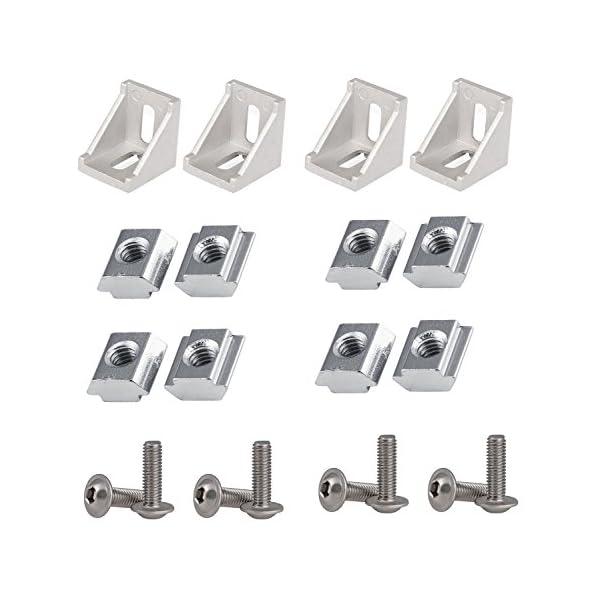 2020 Series Aluminum Profile Connector Set 20pcs Corner Bracket,40pcs M5 X 10mm