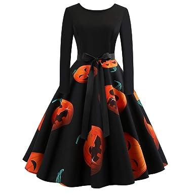 0aabd022ad7 Femmes Robes Halloween Citrouille Imprimé Vintage Manches Longues A - Ligne  avec Ceinture Vêtements Deguisement Halloween