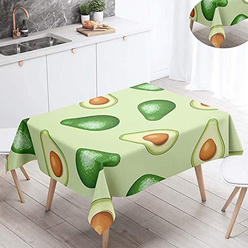Fansu Manteles de Mesa Rectangular para Decorar, Impermeable Antimanchas Comedor Cuadrada Fruta Tropical de Impresion Manteles para Cocina/Cena/Picnic Decoracion (60x60cm,Verde Aguacate)