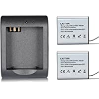 SOOCOO Rechargeable Battery and Rapid Dual Charger for AKASO EK7000 / APEMAN/ ODRVM / Campark / NEXGADGET/ VTIN / SJCAM / Soocoo Action Cameras (1350mAh batteries2 and 1 charge for a set )