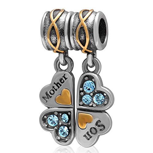 Charmstar Piece of My Heart Mother Son Dangle Charm with Crystal Authentic Sterling Silver Birthstone Four Clover Pendant Bead for European Bracelet (Aquamarine)