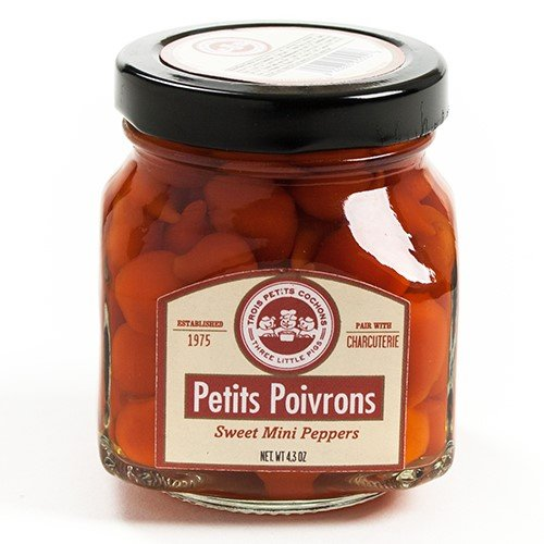 Pickled Red Peppers - Petits Poivrons (Sweety Drop Peppers) by Trois Petits Cochons (4.3 ounce)