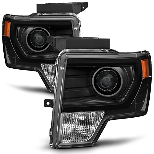 For [HALOGEN UPGRADE] 2009-2014 Ford F-150 F150 Light Duty Pickup Truck Black Bazel Projector Headlights Pair Set