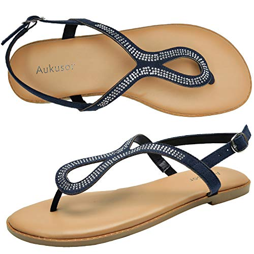 Aukusor Women's Wide Width Flat Sandals - Flip Flop Open Toe T-Ankle Strap Flexible Summer Shoes.(180414 Blue,9.5)