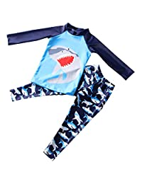 Achiyi Baby Little Boys Two Piece Swimsuits Long Sleeve and Long Pants Diving Surfing Outfit Sun Protection UPF50+ Beachwear