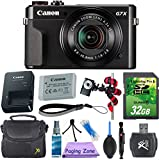 Canon PowerShot G7 X Mark II Camera (Black) with 32GB Memory Card + Exclusive Accessory Bundle For Sale