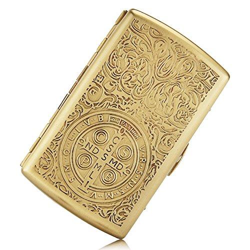 Cigarette Case Pure Copper Embossed Arabesque Tobacco Storage Case Holder for 12 King Size Cigarettes (Cigarette Case Constantine) ()