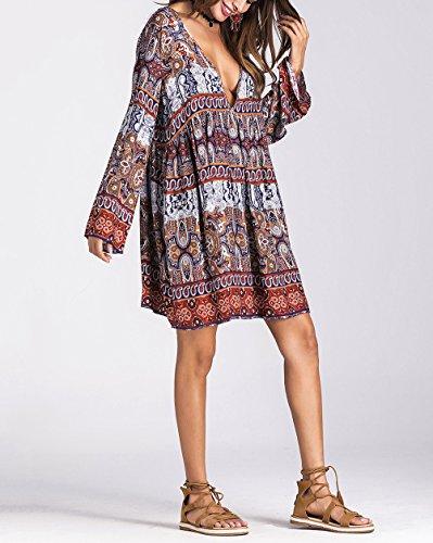 Donna Manica Vestitini Corto Chic Hipster Etnico Mare Hip Collo Corti Lunga Moda Vintage Abiti V Eleganti Boho Larghi Abito Cute Vestito Khaki Stile Hop rxz1rZ