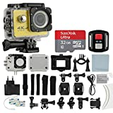 4K HD DV 16MP Sports Action Camera, (Yellow) - Wi-Fi + Wrist RF + 170° Wide Angle Lens + Waterproof Case & Backdoor + SanDisk 32GB Memory Card + Bike Mount + Clip Holder + Ultimate Accessory Bundle