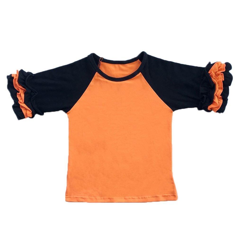 Toddler Girls Icing Ruffle Shirts Kids Raglan T Shirts Baseball 3/4 Sleeves Baby Cotton Tee Tops Little Big Sisters Family Matching Crew Neck T-Shirt Birthday Casual School Clothes Orange + Black