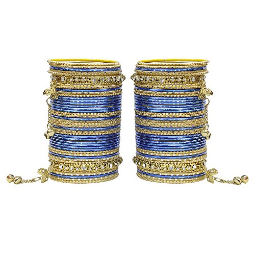 MUCH-MORE 86 Bangles Set of Multi Colour Amazing Collection of Latkhan Bangles Set (Blue, 2.6) ()