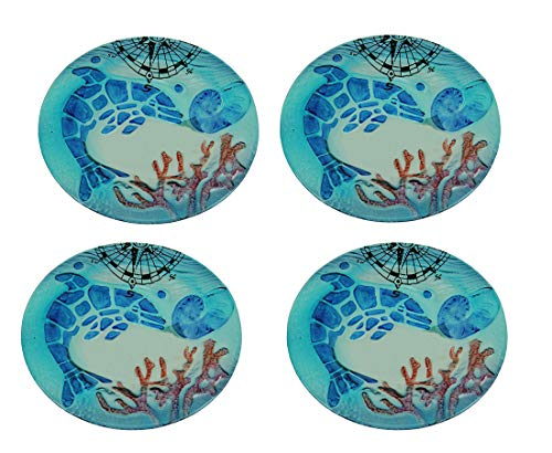 Set of 4 Coastal Blue Dolphin Round Art Glass Salad Plates