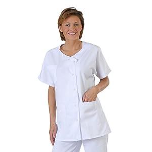 Label blouse Tunique médicale et esthticienne col trapèze 3 poches Sergé 210 gramme Couleurs Blanc Pressions inoxydables Lavage Machine 90 degrés ou industriel
