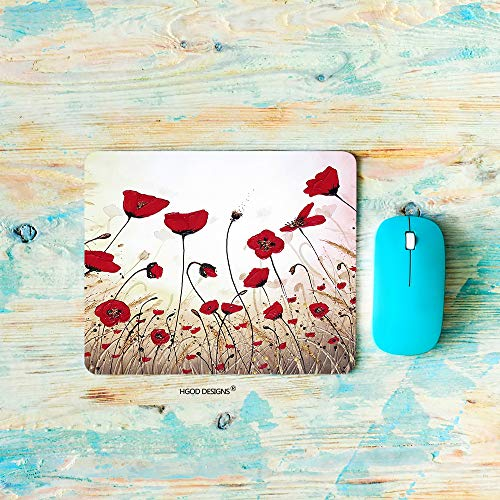 (HGOD DESIGNS Gaming Mouse Pad Poppy Flower,Beautiful Red Poppy Flower Mousepad Rectangle Non-Slip Rubber Mouse Pads(7.9