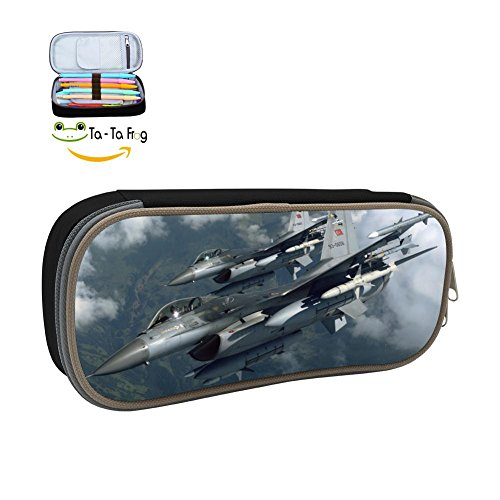 (Air Force F-16 Pencil Case Pen Bag Makeup Pouch Durable Students Print Boys Stationery With Double Zipper )