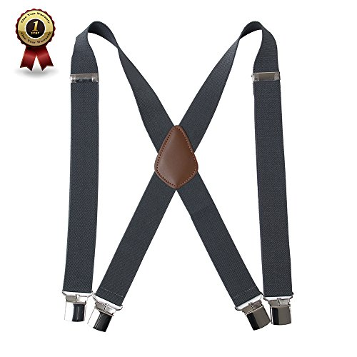 """Men' s X Back Suspenders with 4 Quality Controlled Clips & 1.4"""" Wide Braces & Heavy Duty - Braces Pants"""