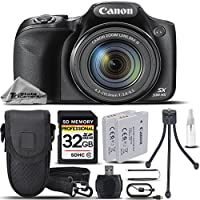 Canon PowerShot SX530 HS Digital Camera Black + Battery Pack NB 6LH + 32GB Class 10 Memory Card + Card Reader + Carrying Case + Mini Tripod. All Original Accessories Included - International Version