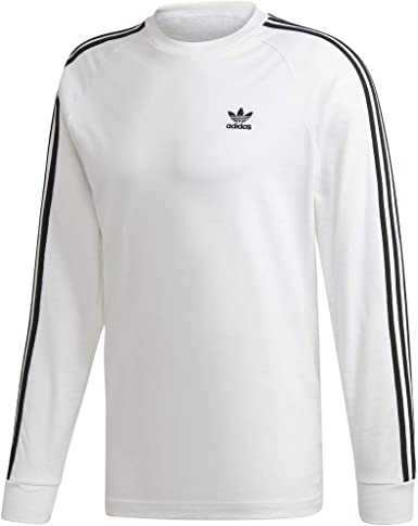 adidas Originals Camiseta de manga larga para hombre con 3 rayas ...