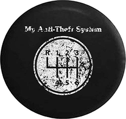 Jeep Tire Cover for Spare Tire Distress My Anti-Theft System Manual Stick Clutch Transmission Black 35 Inch