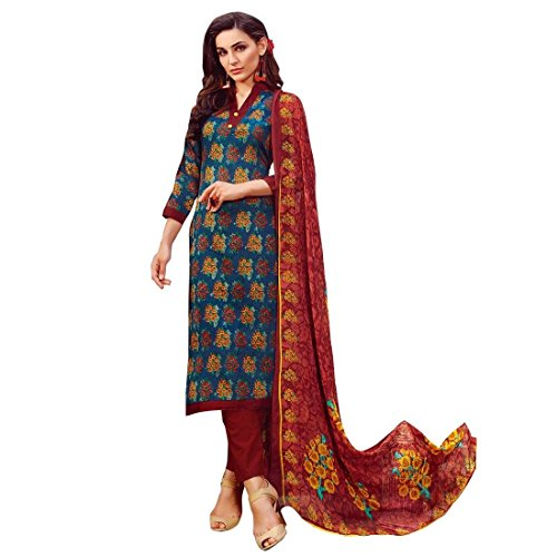 Ready Made Ethnic Beautiful Printed Cotton Salwar Kameez Suit – 0X Plus, Blue