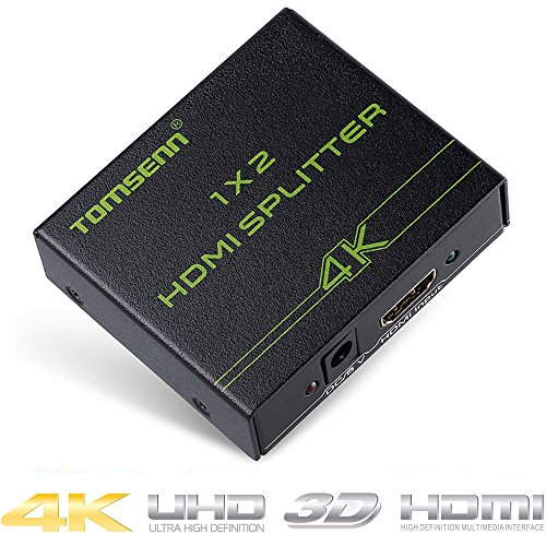 UPC 701807031289, Tomsenn HDMI Splitter 1 In 2 Out Powered Amplifier Certified for 2160P, 1080P & 3D HDCP Support PS3 Xbox Blu-ray Cable Box