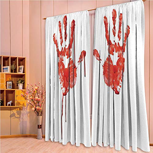 ZHICASSIESOPHIER Print Kids Curtains,Polyester Curtains Panels for Bedroom,Living Room,Help Halloween Horror Scary Spooky Flowing Blood 108Wx73L -