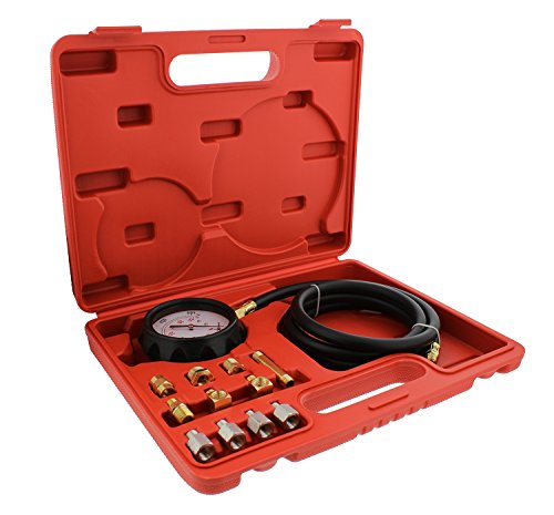 ABN Engine Oil Pressure and Transmission Fluid Diagnostic Tester Tool Kit – 500 PSI / 35 Bar Gauge, Hose, and Adapters
