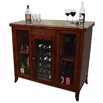 Cherry Wine Cooler Wine Cabinet Bar Wood Granite Top