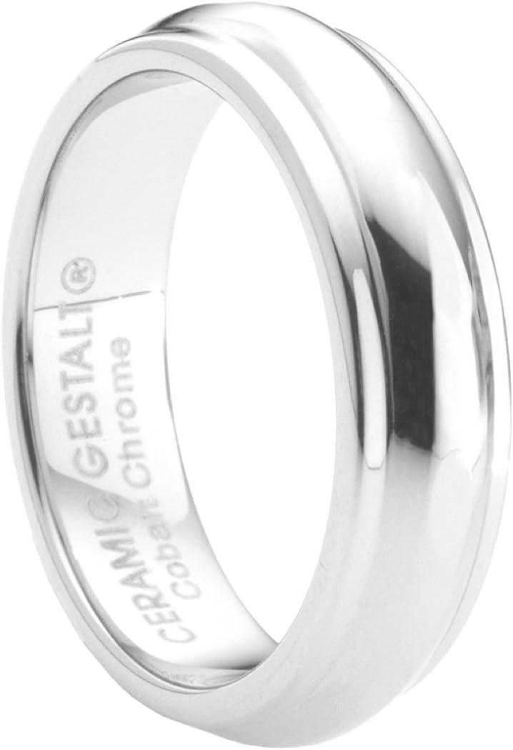 Unique Platinum Finish Cobalt Chrome Wedding Band by Ceramic GESTALT. Comfort Fit. (Sizes 5 to 14)