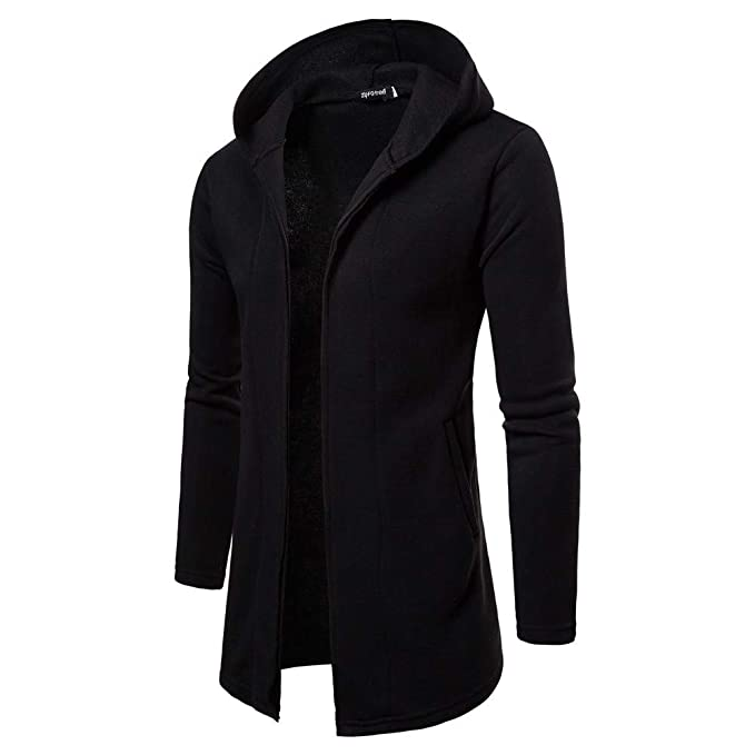 kemilove Mens Casual Solid Color Hooded Long Section Cardigan Sweater at Amazon Mens Clothing store: