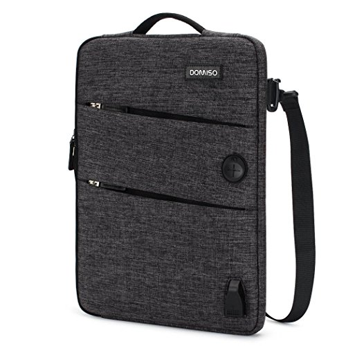 (DOMISO 10.1 inch Waterproof Laptop Sleeve Canvas with USB Charging Port Headphone Hole for 10.1-10.5 inch Laptops/eBooks / Tablets/iPad Pro/iPad Air/Lenovo Yoga Book/Asus / Acer, Black)