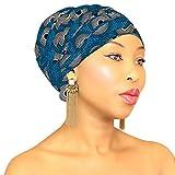 DESIGN 116 Blue White Head Wrap   100% Cotton HEAD SCARF   Royal Head Wraps