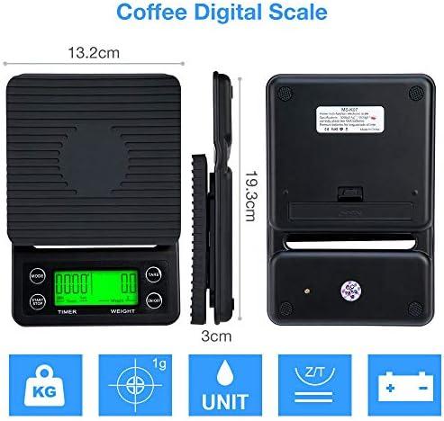 PRWJH Bilancia per caffè Americano, con Bilancia da Cucina Elettronica con Timer, per Cottura di tè al caffè Lavato a Mano, 5 kg / 0,1 g