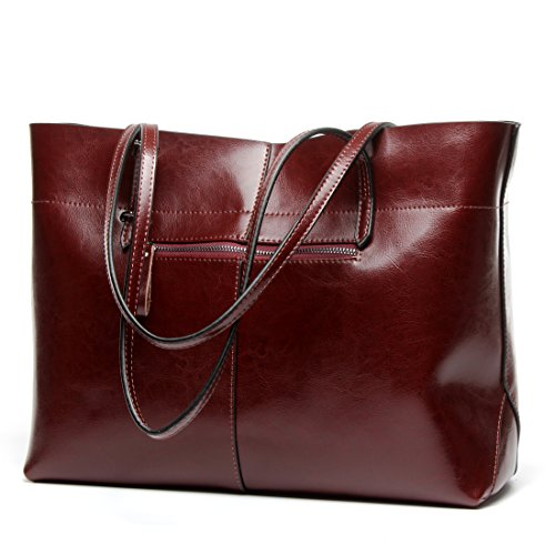 Covelin Women's Handbag Genuine Leather Tote Shoulder Bags Soft Hot Wine red (Shoulder Tote Handbag Leather)