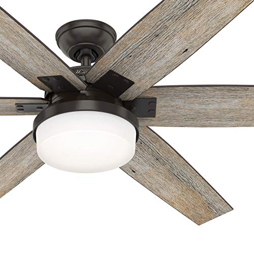 Hunter Fan 64 inch Casual Nobel Bronze Indoor Ceiling Fan with Light Kit and Remote Control (Renewed)