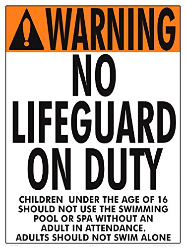 Warning No Lifeguard Sign (16 Years and Under) (18 x 24 Inches) (White Styrene Plastic) by Aquatic Technology, Inc.