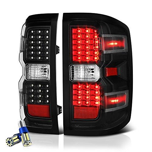 (VIPMOTOZ Black Housing LED Tail Light Lamp Assembly For 2014-2018 Chevy Silverado 1500 2500HD 3500HD Incandescent Model - Full SMD LED Reverse Bulbs, Driver & Passenger Side)