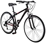 Schwinn Siro Comfort Hybrid Bicycle, Lightweight Aluminum Step-Over Frame, Front Suspension Fork, Padded Suspension Seat, 21-Speed Shimano Drivetrain, and 700c Wheels, Black