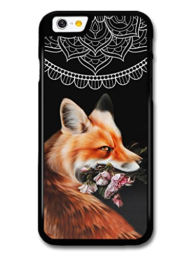 Cute Cool Fox With Flowers and Mandala Pattern on Black Hipster Grunge case for iPhone 6 6S