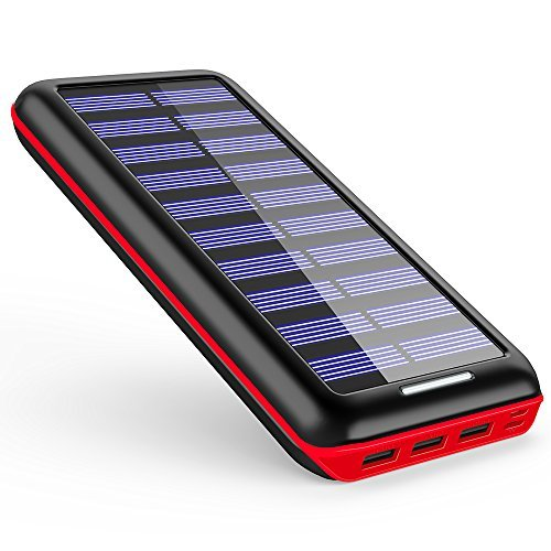 Solar Charger AKEEM Portable Charger 22000mAh Solar Power Bank with Dual Input & 3 USB Output for iPhone, Samsung Galaxy, iPad, Android and other Smart Phone & Devices(Red)