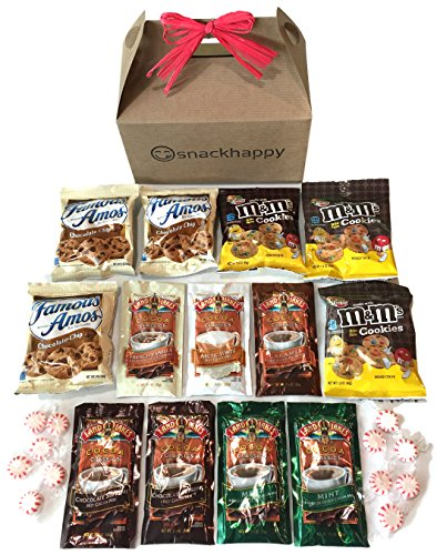 Hot Cocoa & Cookies Valentines Care Package features attractive Kraft Gift Box w/ Red Bow stuffed with cocoa, cookies, and peppermint candy, the perfect gift for college student, military, Valentines