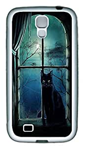 Galaxy S4 Case, Personalized Custom Protective Soft Rubber TPU White Edge Halloween Cat Case Cover for Samsung Galaxy S4 I9500 wangjiang maoyi