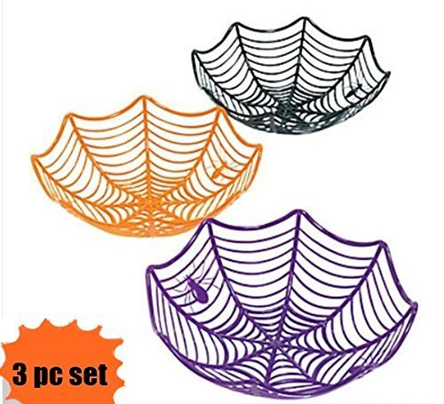Fun Express Plastic Spider Web Spiderweb Halloween Candy Bowls - 3 Piece Set (Office Halloween Party Decorations)