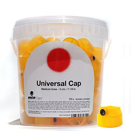 120 Caps Fat (MTN Caps Bucket of 120 Spray Paint Graffiti Art Nozzles (Yellow Universal Cap))