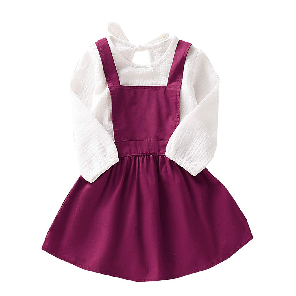 VEKDONE Toddler Baby Girl Clothes Long Sleeve Solid T-Shirt Tops+Suspender Skirts Princess Dress Outfits Sets