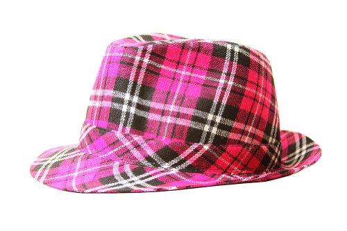 Hot Pink Plaid Design - TopHeadwear Fedora Plaid Design, Hot Pink Large