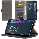 Case for Sony Xperia XZ, Qoosea Woven Pattern Premium PU Leather Wallet Case with Card Holder and ID Slot Stand Flip Cover Case for Sony Xperia XZ Smartphone - Grey