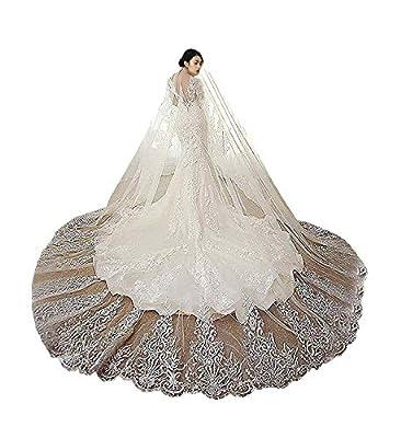 Fenghuavip Lace Edge Wedding Veil 1T Blusher Bride Veils Cathedral Length 4M 5M