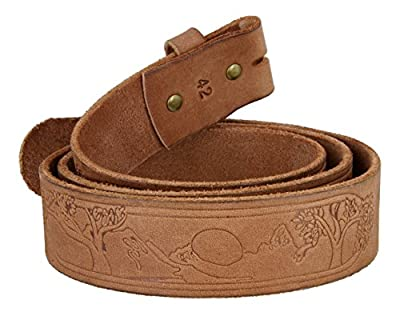 Tree of Life Casual Jean Natural Full Grain Leather Belt Strap for Men